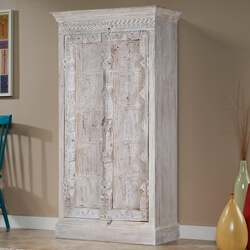 Hoboken Winter White Gothic 2 Door Rustic Tall Storage Cabinet