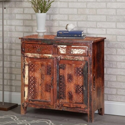 Seville Reclaimed Wood Hand Carved Door 2 Drawer Storage Cabinet & Happy Home Rustic Reclaimed Wood 2 Drawer Storage Cabinet