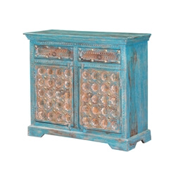 Sky Blue Brass Conch Carved Mango Wood 2 Drawer Rustic Buffet Cabinet
