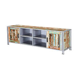 Bardolph Rainbow Handcrafted Reclaimed Wood Industrial Media Console