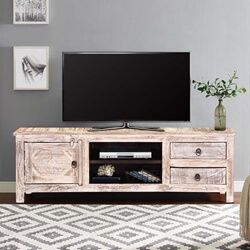 "55"" Winter White Reclaimed Wood TV Console Media Cabinet"