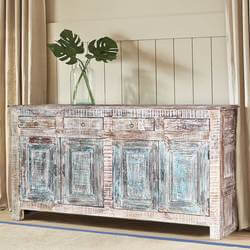 Winter White Rustic Reclaimed Wood 4 Drawer Large Sideboard Cabinet