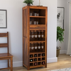 California Contemporary Handcrafted Solid Wood Rustic Home Bar Cabinet