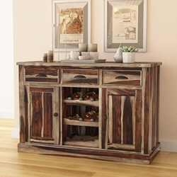 Hosford Handcrafted Solid Wood 3 Drawer Bar Cabinet With Wine Rack