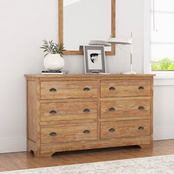 Britain Rustic Teak Wood 6 Drawer Bedroom Double Dresser