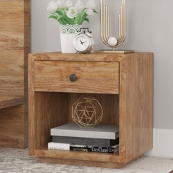Britain Rustic Teak Wood 1 Drawer Bedside Nightstand