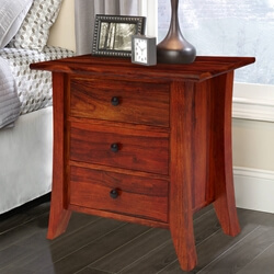 Georgia Modern Solid Wood 3 Drawer Bedside Nightstand