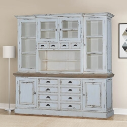 Leeds Recycled Teak And Distressed Wood 12 Drawer China Hutch Cabinet
