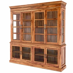 San Francisco Handcrafted Solid Wood Glass Door Dining China Hutch