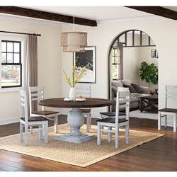 Illinois Modern Two Tone Large Round Dining Table With 8 Chairs Set