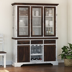 Illinois Modern Two Tone Solid Wood Glass Door Sideboard With Hutch