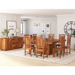Brocton Solid Wood Square Pedestal 10 Piece Dining Room Set
