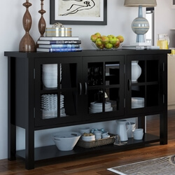 Arcadian Modern Style Rustic Solid Wood Glass Cabinet Buffet Table