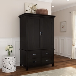 Magaluf Rustic Solid Wood Bedroom Armoire With 4 Drawers