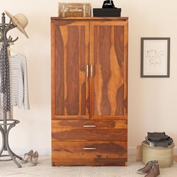 Caspian Rustic Solid Wood Wardrobe Armoire With Drawers and Shelves