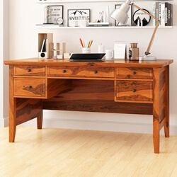 Calypso Rustic Solid Wood 5 Drawer Writing Queen Anne Style Desk