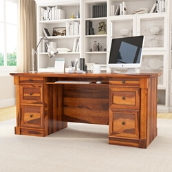 Fine Ansonville Solid Wood Dual Sided Storage 67 Large Home Office Executive Desk Download Free Architecture Designs Scobabritishbridgeorg