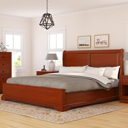 Duanesburg Solid Mahogany Wood Sleigh Style Platform Bed