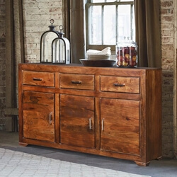 Hardenburgh Reclaimed Wood Furniture 3 Drawer Rustic Sideboard Cabinet