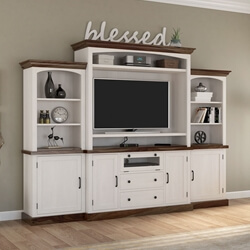 Morven Two Tone Solid Wood Entertainment Center With